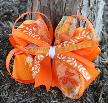 Orange Fall Leaf Pinwheel Hair Bow for Girl's