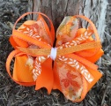 Orange Fall Leaf Pinwheel Hair Bow for Girl's