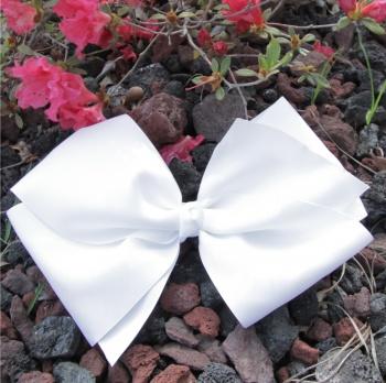 White Grosgrain Oversized Hair Bow