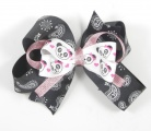 Panda Faces Paisley Pink Hair Bow