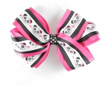 Hot Pink Black Panda Polka Dot Hair Bow