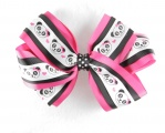 Hot Pink Black Panda Polka Dot Hair Bow
