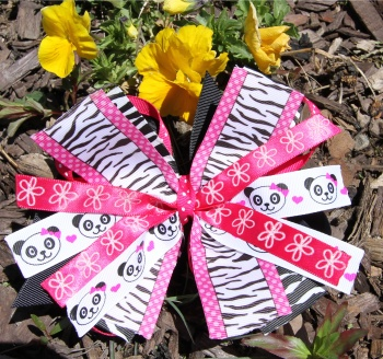 Panda Faces Zebra Stripes Pink Pinwheel Hair Bow