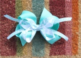 Peace Sign Cheetah Print Turquoise Hair Bow