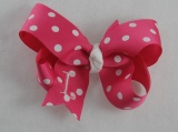 Personalized Shocking Pink White Polka Dots Bow