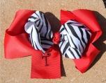 Zebra Print Bow on Red Grosgrain Hair Bow