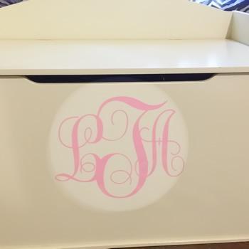 Vinyl Monogram Sticker Decal w/ Interlocking Letters 4x4 Pink
