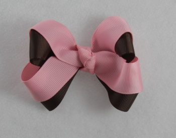 Chocolate Brown Pink Double Layered Bow