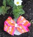 Shocking Pink Orange Flowers Hair Bow