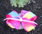 Shocking Pink Peace Signs Double Layered Bow