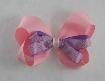 Pink Purple Dots Hair Bow