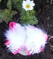 Shocking Pink Zebra Print White Feather Boa Hair Bow