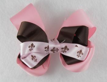 Fleur De Leis Pink and Chocolate Brown Hair Bow