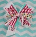 Pink Chevron Turquoise Pinwheel White Hair Bow