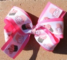 Birthday Cupcakes Hot Pink Bow