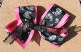 Hot Pink Black and White Paisley Grosgrain Hair Bow