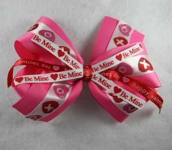 Double Layer Happy Valentine Pink Red Boutique Bow