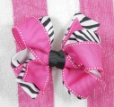 Hot Pink Moonstitch Zebra Print Hair Bow