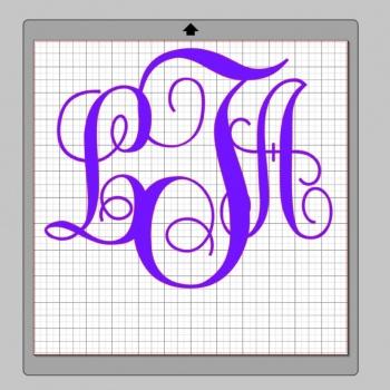 Vinyl Monogram Sticker Decal w/ Interlocking Letters 12x12 Purple
