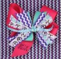 Chevron Purple Pink Turquoise Pinwheel Hair Bow