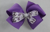 Purple Peace Sign Double Layered Hair Bow