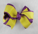 Purple and Yellow Double Layered Grosgrain Hair Bow