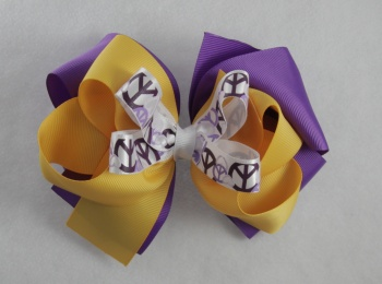 Purple Yellow Gold Peace Sign Triple Layered Hair Bow