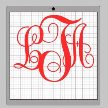 Vinyl Monogram Sticker Decal w/ Interlocking Letters 10x10 Red