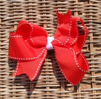 Red and White Saddle Stitch Hair Bow