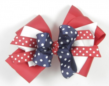Red White Blue Polka Dots Hair Bow