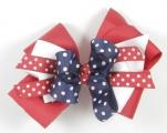 Red White Blue Polka Dots Hair Bow
