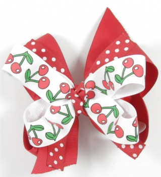 Red Cherries Polka Dots Hair Bow