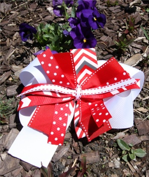 Red Chevron Polka Dot Pinwheel Bow