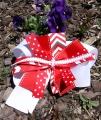 Red Chevron Polka Dot Pinwheel Bow