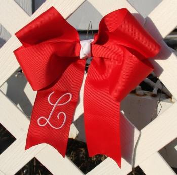 Red Grosgrain Long Tail Cheer Bow for Girl's