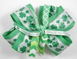 St Patrick's Day Green Shamrock Hair Bow