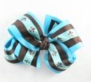 Turquoise Chocolate Brown Fleur De Leis Triple Hair Bow
