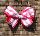 Shocking Pink Zebra Print Triple Layer Hair Bow