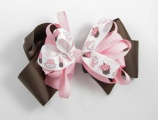 Pink and Chocolate Brown Birthday Cupcakes Hair Bow