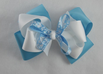 Turquoise White Hearts Hair Bow