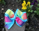 Turquoise Rainbow Peace Sign Grosgrain Hair Bow