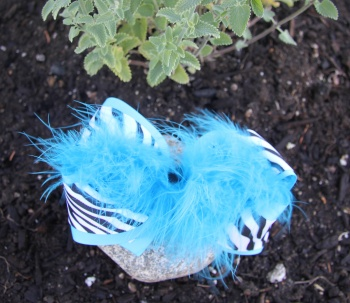 Turquoise Zebra Feather Boa Hair Bow