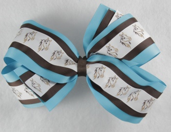 Horse on Turquoise and Chocolate Brown Hair Bow