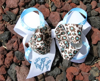 Cheetah Turquoise and Light Blue Stacked Hair Bow