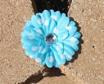 Turquoise White Polka Dots Daisy Flower Hair Clip