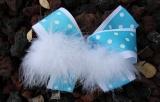 Turquoise White Polka Dots Feather Hair Bow