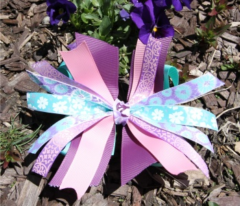 Turquoise Purple Pink Flower Pinwheel Bow