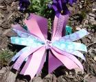 Turquoise Purple Pink Flower Pinwheel Bow