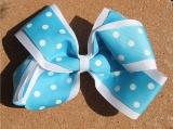 White Turquoise Polka Dot Double Layered Hair Bow