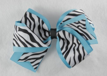 Turquoise Zebra Print Double Layered Hair Bow